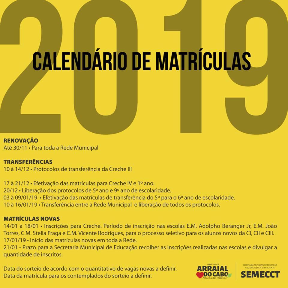 calendário de matrículas